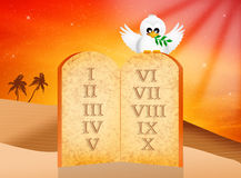 Boards of ten Commandments Stock Photo