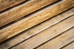 Part of a wooden bench. The boards of a wooden garden bench close-up as an abstraction Stock Photos