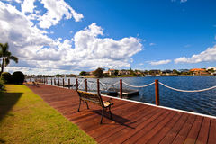 Boardwalk. A boardwalk facing out over the canal Stock Images