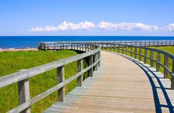Boardwalk. A wooden boarwalk winding above the grass close to an ocean beach Stock Photos