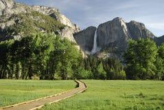 Boardwalk across a meadow in Yosemite Valley Stock Images