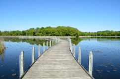 Boardwalk Across a Pond Royalty Free Stock Photography