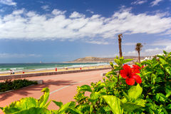 Boardwalk in Agadir, Morocco. Boardwalk in Agadir with the mountain in the background, Morocco Royalty Free Stock Image