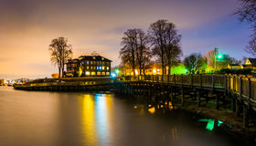 Boardwalk along the waterfront at night, in Havre de Grace Stock Image