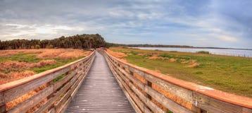 Boardwalk along the wetland and marsh at the Myakka River State. Park in Sarasota, Florida, USA Stock Image