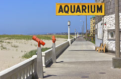 The boardwalk and the aquarium store Seaside OR. Stock Photos