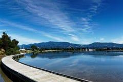 Boardwalk around the estuary, Motueka, New Zealand royalty free stock photography