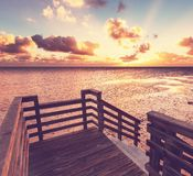 Boardwalk on beach Stock Image