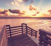Boardwalk on beach Stock Image