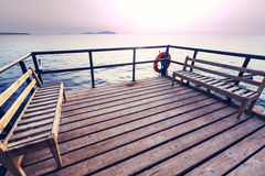 Boardwalk on beach Stock Images