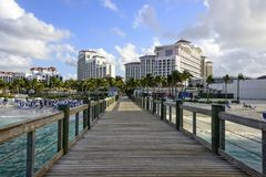 Boardwalk on the Beach in the Bahamas Stock Photo