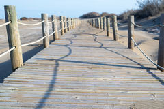 Boardwalk on the beach, Ebro Delta National Park, Spain stock photos
