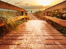 Boardwalk on beach Royalty Free Stock Photos
