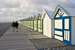 Boardwalk beach huts Royalty Free Stock Photo