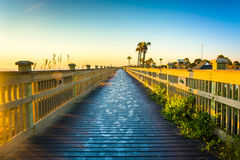 Boardwalk at the beach in Palm Coast, Florida. Royalty Free Stock Images
