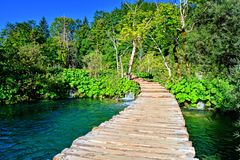 Boardwalk through beautiful Plitvice Lakes National Park, Croatia Royalty Free Stock Photography