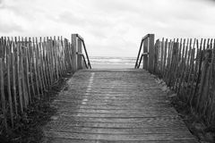 Boardwalk in black and white Royalty Free Stock Images