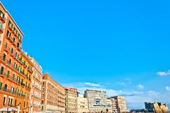 Boardwalk buildings and Castel dell'Ovo in Naples Royalty Free Stock Image