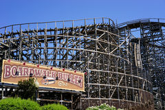 Boardwalk Bullet - wooden roller coaster royalty free stock photography