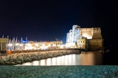 boardwalk and Castel dell'Ovo in Naples Stock Photography