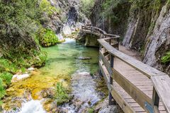 Boardwalk through Cerrada de Elias gorge in Cazorla National Par Royalty Free Stock Photo