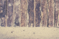 Boardwalk closeup on beach with sand Royalty Free Stock Image