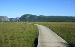 Boardwalk Curving to Western Brook Pond. WESTERN BROOK POND, CANADA – JULY 19: People on a boardwalk and trail on July 19, 2011 at Western Brook Pond Royalty Free Stock Image