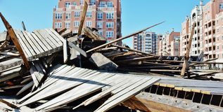 Boardwalk demolishing  coney island new york Royalty Free Stock Photography