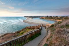 The boardwalk down to the Onkapringa River mouth at Southport lo. Oking towards Port Noarlunga on 23rd September 2018 royalty free stock image
