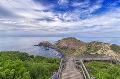 Boardwalk down towards the river rock and beach. The Cape Schanck boardwalk running down to the river rock and the pebbles beach in the Mornington Peninsula with Stock Image