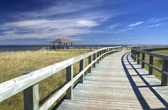 Boardwalk at an Eco-Centre, New Brunswick, Canada. A boardwalk at Bouctouche Dunes, central New Brunswick, Canada royalty free stock photography