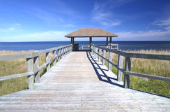 Boardwalk at an Eco-Centre, New Brunswick, Canada. A boardwalk at Bouctouche Dunes, central New Brunswick, Canada royalty free stock image