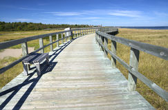 Boardwalk at an Eco-Centre, New Brunswick, Canada stock image