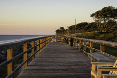 Boardwalk on Jekyll Island, GA, at dawn Royalty Free Stock Photo