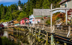 The boardwalk of Ketchikan Creek in Ketchikan, Alaska Royalty Free Stock Photography