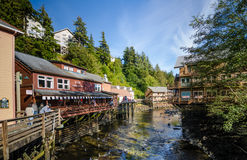 The boardwalk of Ketchikan Creek in Ketchikan, Alaska Royalty Free Stock Photo