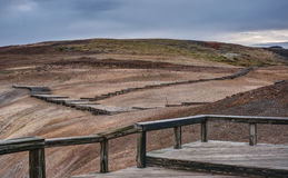 Boardwalk in the Krafla Geothermal Region of Iceland Stock Image