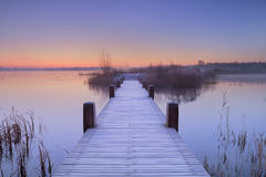 Boardwalk on a lake at dawn in winter, The Netherlands Royalty Free Stock Image