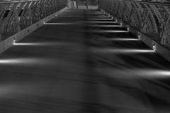 Boardwalk with lights black and white Royalty Free Stock Images