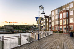 Boardwalk lined with Homes Stock Photos