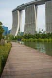 Boardwalk and Marina Bay Sands Hotel Stock Photos