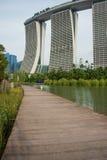 Boardwalk and Marina Bay Sands Hotel Stock Photos
