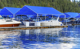 Boardwalk Marina Piers Boats Reflection Lake Coeur d`Alene Idaho Royalty Free Stock Photography