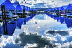 Boardwalk Marina Piers Boats Reflection Lake Coeur d`Alene Idaho Stock Photography