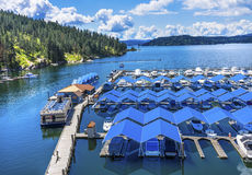 Boardwalk Marina Piers Boats Reflection Lake Coeur d`Alene Idaho Stock Photos