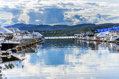 Boardwalk Marina Piers Boats Reflection Lake Coeur d`Alene Idaho Stock Photography