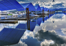 Boardwalk Marina Piers Boats Reflection Lake Coeur d`Alene Idaho Royalty Free Stock Images