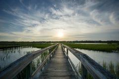 Boardwalk and marsh Stock Photo