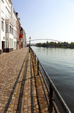 Boardwalk of the Meuse river at Maastricht Royalty Free Stock Images