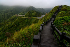 Boardwalk on a mountain ridge in Jiufen, Taiwan along the coast of the Yinyang sea Stock Photography
